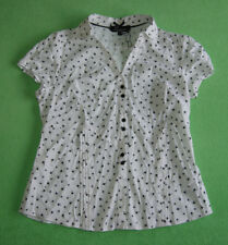 Debenhams white with black birds elegant work shirt top for women size UK 18