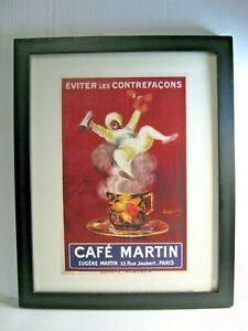 Vintage Art Print Cafe Martin Coffee Paris by Leonetto Cappiello Matted Framed