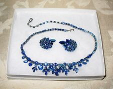 Sherman Jewels of Elegance - Signed Electric Blue Necklace and Earrings