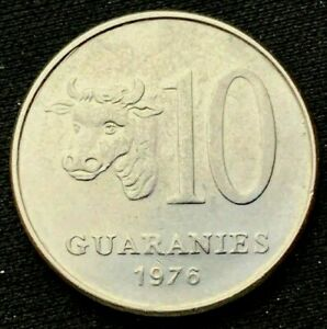 1976 Paraguay 10 Guaranies Coin UNC    Stainless Steel     #K674