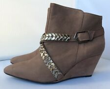NEW Schutz Brown Suede Wedge Ankle Boot Size 9 Made in Brazil Nobuck Leather NIB