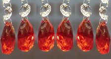 6 CHANDELIER CUT GLASS CRYSTALS DROPLETS RED DECO OVAL CHRISTMAS TREE DECORATION