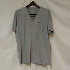 La Coste Pima Cotton Top Shirt Vee V-Neck Men's Short Sleeves Grey Size 8