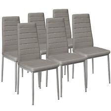 6x Esszimmerstuhl Set Stühle Küchenstuhl Hochlehner Wartezimmer Stuhl grau