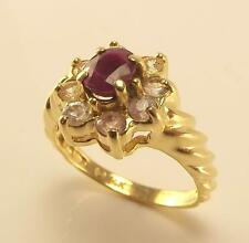 14K YELLOW GOLD 1.5 CTTW GENUINE RUBY & DIAMOND CLUSTER RING SIZE 8 - 5.2gr