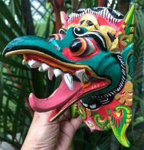 Art Mask Bird Garuda Eagle Decor Buddha Hand Carved Paint Wood Decor Hindu Bali