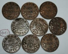 Canada 1932 x 9 1 Cent Copper Coin One Canadian George V Penny Lot #H41