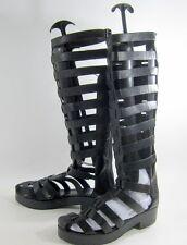 "new Black Straps 2""Block Low Heel Back Zip Gladiator Knee sandal Size 7"