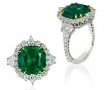 8ct Cz Green Cushion Halo Engagement Ring 925 Sterling Silver Three Stone White
