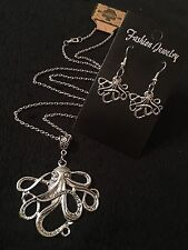 """LARGE Octopus Necklace + Earrings *SET* 24""""chain Silver Animal Unusual Steampunk"""