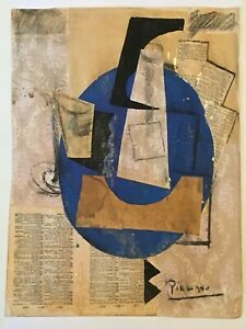 Large Multi Media Collage Signed Picasso Original Modern Painting