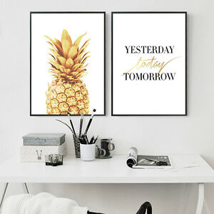 Pineapple Inspirational Quote Poster Wall Art Canvas Painting Nordic Decoration