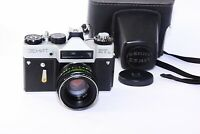 "ZENIT ET Silver Edition RARE Soviet SLR film camera w/s lens ""Helios 44-2"" Super"