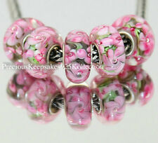 "*ONE~Murano Glass Bead ""Blooming Pink Blossoms"" Sterling Silver non thread core"