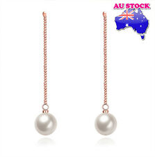 18K Rose Gold Filled Long Chain Drop Earrings With White Faux Pearl