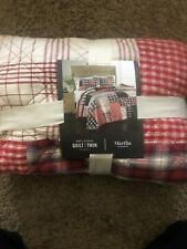 Martha Stewart Collection Holiday Patchwork Twin Quilt Plaid Red Retail $220 New