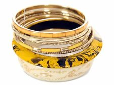 Women's Fashion Yellow Gold 7 Piece Bangles Bracelet Set Yellow/Gold
