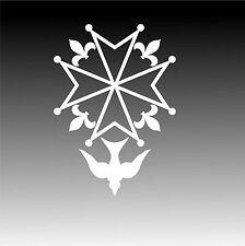 Huguenot Cross Decal Christian Window Sticker