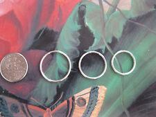 Silver Set: 3 18g  14, 16 & 18mm Endless Hoop Infinity Rings Nose Earrings