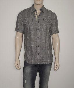 NEW CAVI Shirt in Black/White Size Medium 100% LINEN Button-Down Short Sleeve