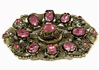 VINTAGE CZECH ART DECO LARGE GOLD TONE FILIGREE PINK PASTE BROOCH PIN Gift Boxed