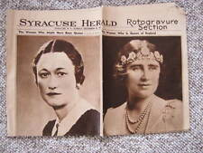 1936 Rotogravure Section - Wallis Simpson & Queen Elizabeth - Very Rare