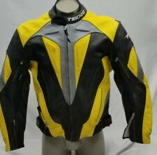 Teknic yellow/black perforated lined/leather motorcycle jacket. Size 58