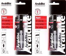 2 x araldite rapide époxy adhésif super fort colle 2x 15ml tubes rouge