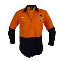 Melbourne Storm NRL LONG Sleeve Button Work Shirt: HI VIS ORANGE/NAVY Gift