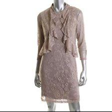 JESSICA HOWARD Gold Metallic Crochet Dress With Cardigan Petites 8P $139