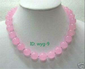 New 10mm pink chalcedony round gemstone necklace 18 inches