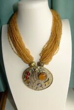 JEWELLERY PRETTY MULTI STRAND GOLD GLASS SEED BEAD NECKLACE  135