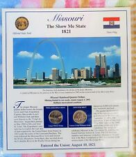 Missouri Postal Commemorative Society State Coin and Stamp Panel