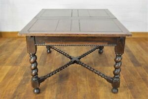 Antique oak spiral twist 4 - 6 - 8 seater extending dining table
