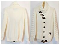 LCR Black Edition Mens White Heavy Knit Toggle Closure Cardigan Sweater Size 3XL
