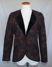 Vintage Womens Emanuel Ungaro Jacket 8 Wool Velvet Trim Floral Print T29