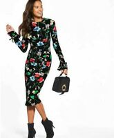 Floral Bodycon Midi Dress Size 10 Long Sleeve Ruched Front BNWT Very