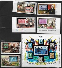 HAUTE VOLTA , US BICENTENNIAL , 1976 ,  S/S & SET OF 6 STAMPS ,  IMPERF , MNH