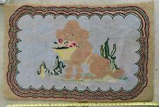 Antique folk art hooked rug dog poodle flower basket c. 1920 hand stitched puppy