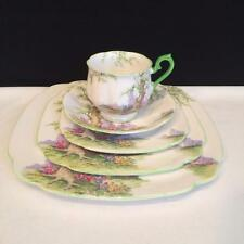 CH3824 2 COMPLETE ROYAL ALBERT GREENWOOD TREE GREEN TRIM 5 PIECE PLACE SETTINGS