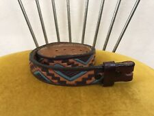 Vtg Chambers Southwest Western Women's Leather Belt Size 24-26 Made in Usa