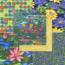 "Water Lilies 30 4"" fabric squares quilting cotton quilt flowers floral crafts"