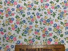 Vintage Cotton Fabric 50s PRETTY Lil Pink, Blue & Yellow Posies on White 36w 1yd