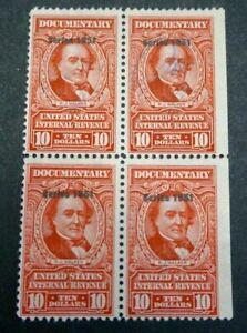 1951 US S# R578, $10.00 carmine perf 11 Revenue Documentary Block of 4v Used