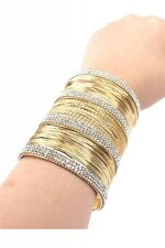 """3"""" wide gold crystal pave bracelet bangle cuff wire 158"""