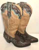 Sterling River Embroidered Cowboy Boots Womens 6 B Leather Distressed Tan Brown