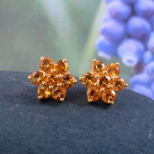 Natural Citrine Stud Earrings Flower Art Deco Statement 18k Gold Plated Silver
