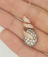 AUTHENTIC LEVIAN 14K ROSE GOLD ROUND DIAMOND PEAR SHAPED DROP CLUSTER PENDANT