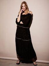 Free People Lily Lionel small Black Gold Esmeralda Maxi Peasant Dress $300  684
