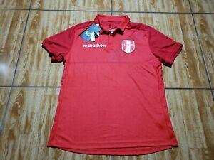 NEW Marathon Peru Polo Soccer Jersey Adult Small Red Mens Futbol Dri Fit